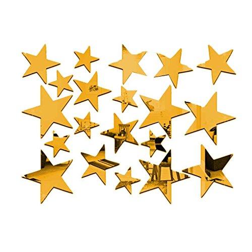ELENXS Set 20pcs Kreative Five Stars Wandspiegel-Aufkleber für Kind-Kind `s Schlafzimmer Home Deco, 3D DIY Kristall Wandtattoo Wandbilder