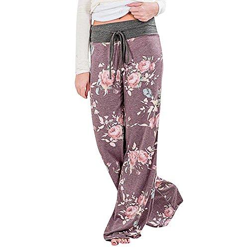 Women Pants Neartime Print Loose Casual Pants American Flag Drawstring Wide Leggings (M, Coffee)