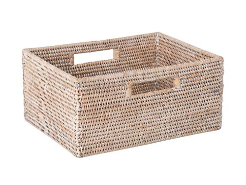 Kouboo La Jolla Rattan Shelf Basket with Handles, Medium, White-Wash Aufbewahrungskorb weiß