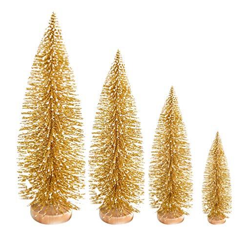 Garneck 4 Piezas de Mesa Mini arbol de Navidad Esmerilado Adornos de decoracion de arbol de Navidad Dorado