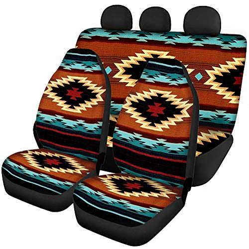 SEANATIVE Tribal Native Navajo Aztec Car Seat Covers Vehicle Seat Protector Car Mat Covers Pack of 4 Front Rear Seat Cover Durable Comfortable Decorative Set,Car Protectors Accessiores,Easy Install