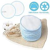 Discos Desmaquillantes Reutilizables de Algodón 100% de 10 Piezas, METALABY Almohadillas Cosméticas Lavables de Algodón con una Bolsa 10PCS