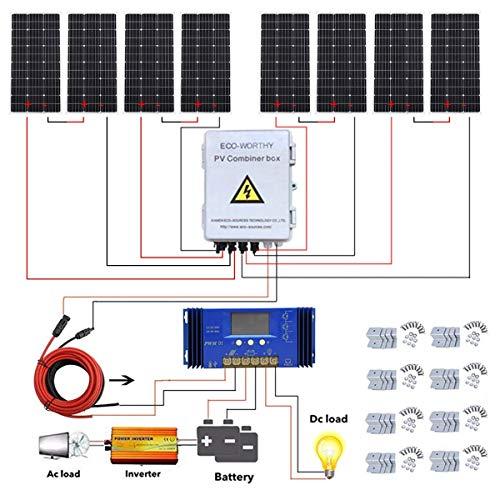 800W de la rejilla completos sistemas de paneles solares + 4 combinación de strings PV Box + 3000W inversor for conexión a la red principal