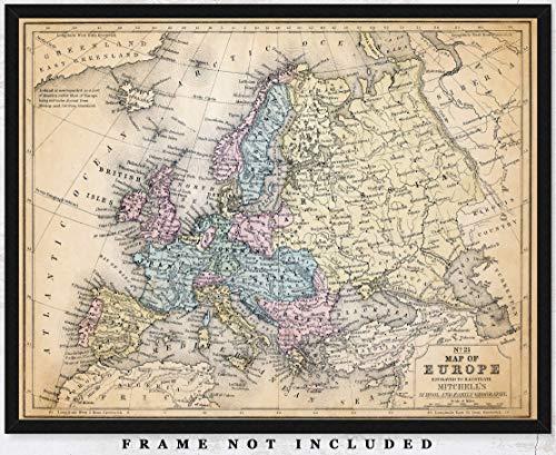 Vintage Europe Map Wall Art Print - (11x14) Photo Unframed Make Great Room Wall Decor Gift Idea Under $15