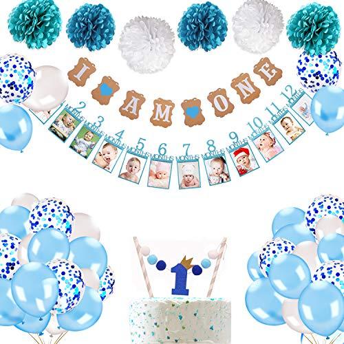 Howaf 1. Geburtstag Dekorationen für Junge, Baby Ersten Geburtstag Girlande Foto Banner, Luftballons Konfetti Ballons Blau Weiß, deko Kuchen Topper, Baby Party Kindergeburtstag Deko 1 Jahr