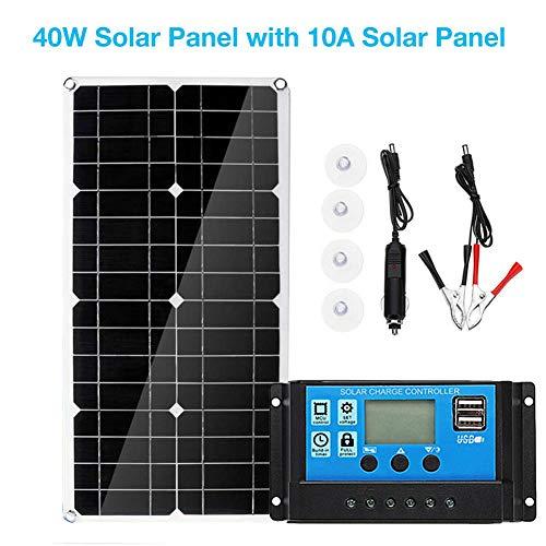 haodene Dual USB 40W Solarpanel mit 10A Solarpanel zum Aufladen von Auto Yacht RV Lampen Solarmodul Solarpanel ideal für Garten Wohnmobil Caravan