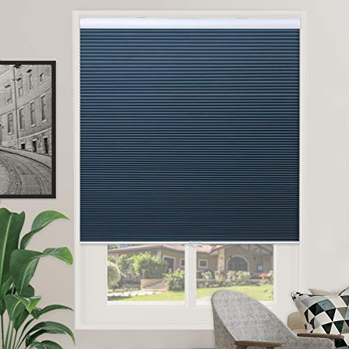 Grandekor Window Blackout Blinds Room Darkening Shade Cellular Shades for Bedroom, Black Out 99% Light & UV, Thermal, Cordless and Easy to Pull Down & Up, 29 inch x 64 inch Drop, Blue White