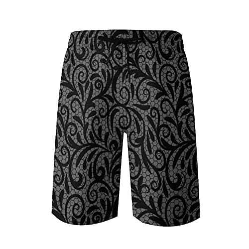 KLING Troncos de baño Cortos de Playa para Hombre Adorno de Encaje Vintage, Elegante Textura de Tul, Vector Transparente, L