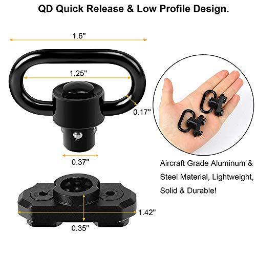 "REERON QD Sling Swivel Sling Mounts, 2 Pack 1.25"" Quick Detach Push Button QD Sling Swivels Mount Adaptor Compatible with Mlok System"