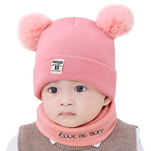 Y56 Winter Warm Crochet Strickmütze Beanie Cap Schal Set Neugeborenes Kleinkind Kinder Mädchen Jungen Baby Pom Hut Kappen Häkelstrick...