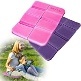 2 Pieces Portable Waterproof School Seat Sitting Mat Folding Seat Mat Outdoor Seat Mat Beach Seat Pad Sitting Mat Hiking for Outdoor Camping,Tourism and Park Picnics (Purple and Pink)