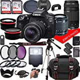 Canon EOS 90D DSLR Camera w/Canon EF-S 18-55mm F/3.5-5.6 is STM + EF 75-300mm F/4-5.6 III Zoom Lenses + Case + 128GB Memory (30pc Bundle)