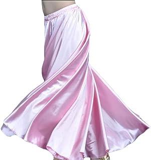 chenshiba-JP 女性ファッションベリーダンスサテンスカートセクシーなアラビア語ハロウィンシャイニーロングスカート