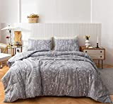 Janzaa 3PCS Comforter Set Floral Comforter Set Bedding Set White Flower Printing on Gray Comforter with 2 Pillow Cases for All Season Using(Queen)