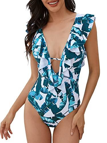 heekpek Trajes de Baño una Pieza Bikini Volantes Sexy Cuello en V Bañadores de Mujer Estampado Tropical Cintura Alta Bikini Sexy Mujer