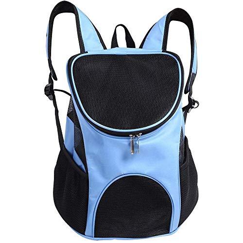 WLDOCA Mochila Plegable Transpirable para Mascotas Bolsa de Viaje portátil para Perros y Gatos Bolso de Hombro Ajustable saliente con Mochila de Malla Suministros para Mascotas,Azul,S