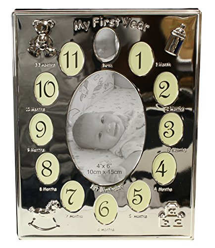 benerini Silver Plated ' My First Year ' Photo Frame Babys First Birthday Christening Gift - Holds 13 Photos