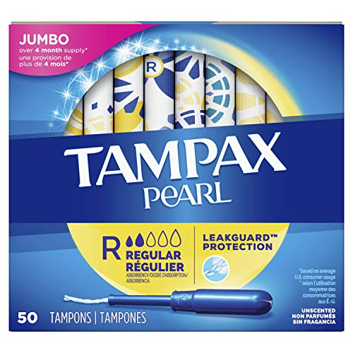 Tampax Pearl Tampons Regular Absorbency with LeakGuard Braid Unscented 50 Count