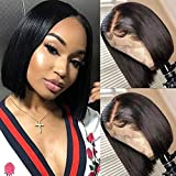 RECOOL 10A Human Hair Bob Wigs for Black Women 13x4 Lace Front Wigs Natural Color Short Bob Wig Brazilian Straight Hair Wigs Natural Hairline(12 inch Straight Bob Wig)