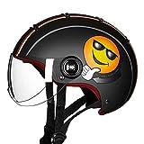 Accesorios de Motos Vintage Casco de la Motocicleta Medio Casco de la Cara del Coche eléctrico Hombres Mujeres Cuatro Estaciones Casco de la Moto Vespa LKYHYQ (Color : Negro, Size : L)