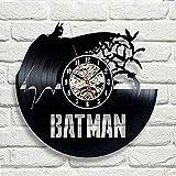 AGGG Horloge Murale en Vinyle Vintage Design Moderne pépinière décorative Joker Batman horloges Horloge Murale décor à la Maison Silencieux 12ème