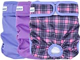 Petsweare Female Dog Diaper - Reusable and Washable - Soft & Comfortable -. A Set of 3 PCS (X-Large, Purple, Lilac, Scottish)