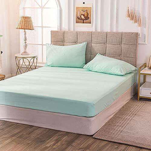 CYYyang Protector de colchón de bambú Funda de colchón y Ajustable Sábana de Color Puro a Prueba de Polvo-Verde Menta_160x200x30cm