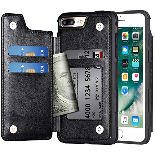Migeec - Funda Tipo Cartera para iPhone 7 Plus/8 Plus (Piel, Tarjetero, a Prueba de Golpes, Tapa Trasera para iPhone 7 Plus/8 Plus de 5,5 Pulgadas), Color Negro