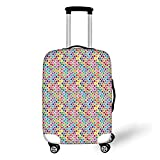 Travel Luggage Cover Suitcase Protector,Geometric,Fidget Spinner Shaped Abstract Rainbow Colored Image Geometric Ornamental Pattern Decorative,Multicolor,for Travel L