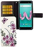 König Design Handyhülle Kompatibel mit Wiko Lenny 5 Handytasche Schutzhülle Tasche Flip Hülle mit Kreditkartenfächern - Lotusblume Pink Weiß