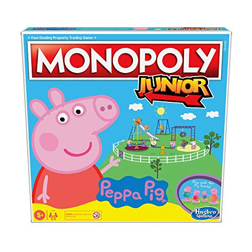 Monopoly Junior: Peppa Pig Edition Board Game for 2-4 Players, Indoor Game For Kids Ages 5 and Up