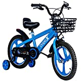 Dripex Freestyle Kid's Bike Boys Bicycles Ages 4-8 BMX Bike 16 Inch with Training Wheels and Kickstand Blue