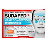 Sudafed PE Head Congestion + Flu Severe Decongestant Tablets for Adults, 24 ct