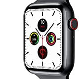 Affordable Smart Watch for iPhone & Android: 44mm Touch Screen, Fitness Tracker, Waterproof, Temperature Readings, Message & Notifications Viewing, Music Control (Black)