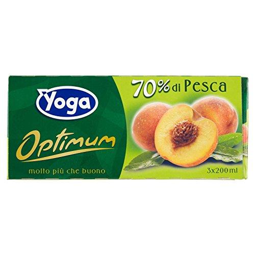 Yoga Succo Optimum Pesca - 8 confezioni da 3 pezzi da 200 ml [24 pezzi, 4800 ml]