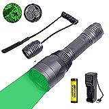 Taschenlampe grün für jagd, USB wiederaufladbar Nachtjagd Taschenlampe für Kojote-Schweinfuchs 1...
