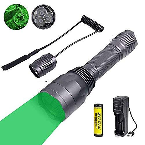 Taschenlampe grün für jagd, USB wiederaufladbar Nachtjagd Taschenlampe für Kojote-Schweinfuchs 1 Modus 650 Lumen-Reichweite 300 Meter mit Druckschalter