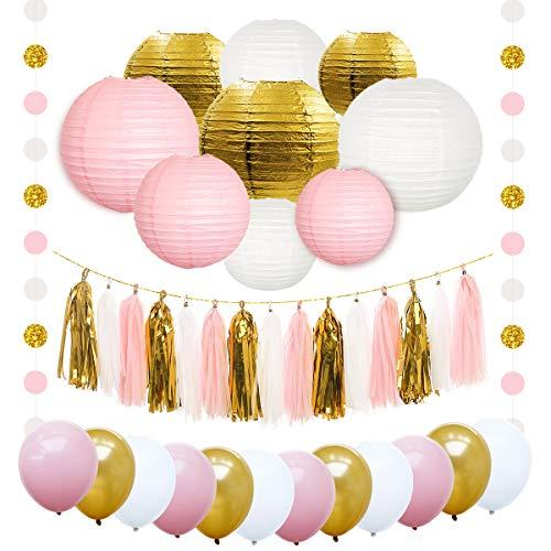 NICROLANDEE Pink and Gold White Round Paper Lantern Tissue Tassel Garland Party Balloon Polka Dot Hanging String Decoration for Wedding Baby Shower Bridal Shower Birthday Decor (Pink)