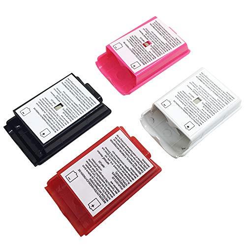 Funda Shell de 4 piezas para batería AFUNTA para el controlador inalámbrico Xbox 360 - 4 colores (Negro, Blanco, Rojo, Rosa)