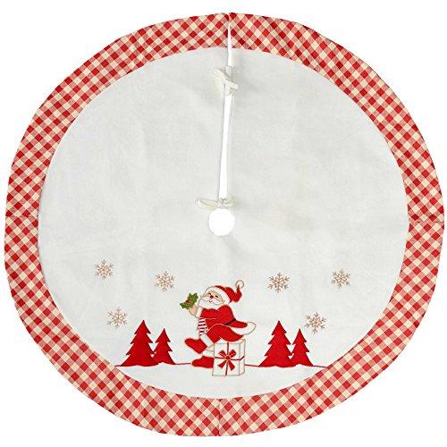 WeRChristmas Checked Santa Design Christmas Tree Skirt Decoration, 107 cm - Red/White