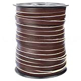 25 Feet - CleverDelights 1/4' Genuine Leather Flat Cord - Dark Brown - 6mm Cowhide Leather Strap