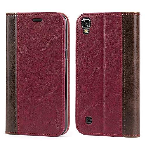 Mulbess Handyhülle für LG X Power Hülle Leder, LG X Power Handytasche mit BookStyle Flip Schutzhülle für LG X Power Hülle, Wein Rot
