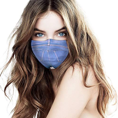 PPangUDing Damen Mundschutz mit Motiv Waschbar Baumwolle Wiederverwendbar Atmungsaktive Staubdicht Schlauchschal Bandana Multifunktionstuch