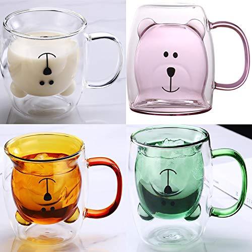 Copa de café de oso de vidrio con aislamiento creativo Taza de café de doble café para amigos y compañeros de clase,E(4pcs)