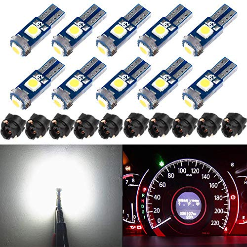 BlyilyB 10-Pack T5 37 74 LED Bulb With Twist Lock Socket PC74 PC37 Dashboard Instrument Panel Gauge Cluster Light