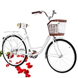 Beach Cruiser Bike for Women 26 Inch Classic Retro Bicycle Road Bikes Single Speed Comfortable Bicycle Commuter Bicycle High-Carbon Steel Frame, Front Basket, Rear Racks (White)