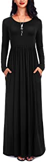 ATOPDREAM Women's Long Sleeve Loose Plain Casual Long Maxi Dresses with Pockets