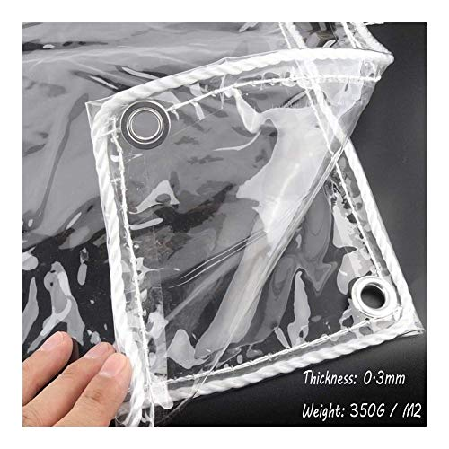SHIJINHAO Exterior Transparente De Lonas Impermeables, Pesado PVC Impermeable Lona Alquitranada Ojales De Metal Planta De Flores Cubrir Tienda 350G/M2 Panel, 0.3 Mm (Color : Claro, Size : 5X6M)