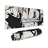 Ichigo Kurosaki Bleach Large Gaming Mouse Pad, Waterproof Non-Slip Keyboard Pad with Rubber Base & Stitched Anti-Fray Edges, Great for Laptop Computer, Desktop Computer 31.5x11.8x0.12 Inches