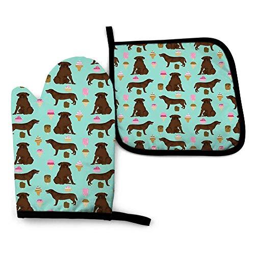 zhouyongz Manopla de horno azul de chocolate de laboratorio de verano de raza de perro Labrador Retriever, agarradera cuadrada, almohadillas calientes y guantes de algodón para horno de microondas